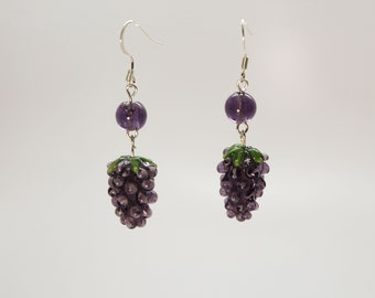 Lampwork grape cluster earrings