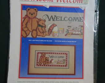 """Heirloom Welcome Counted Cross Stitch Kit Dimensions 12"""" x 16"""" Teddy Bear Toys"""