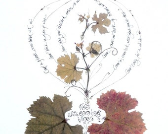 The Welcoming Wines--print from real leaves and calligraphy