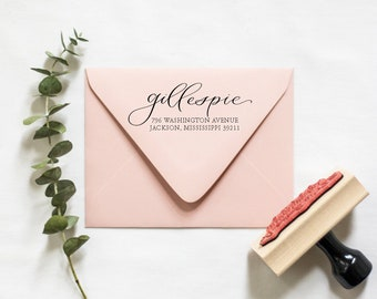 Classic Calligraphy Return Address Stamp   RSVP address stamp, Wedding return address stamp, New home owner gift