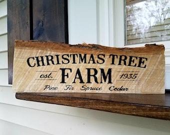 Hand painted Christmas Tree Farm sign on live edge wood