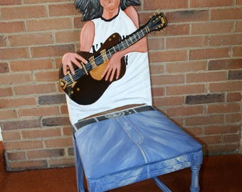 John Lennon upcycled chair painted by Artist Todd Fendos