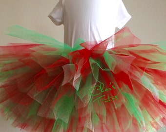 Ready to Ship - Red/Green/Gold Tutu. Christmas, Holiday Parties, Birthdays, Photos, Infants-Girls.