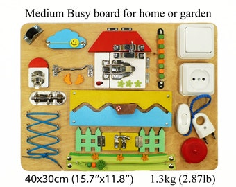 Busy board for toddlers Activity game for boys and girls 0-4 years made by montessori metod from eco materials.