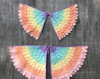 Pastel Rainbow Wings // Pastel rainbow cape // Bird wings // Unicorn party // Costume wings // soft and flappable // US made // many sizes