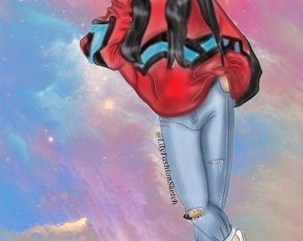 Custom Fashion illustration with background