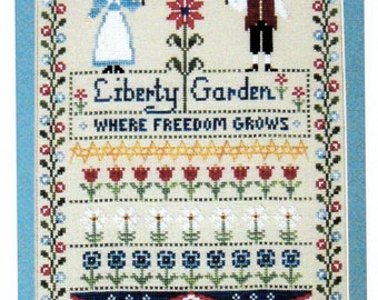 Liberty Garden. Cross Stitch chart booklet from The Needle's Notion. Primitive Colonial Freedom Garden. Red White and Blue flowers