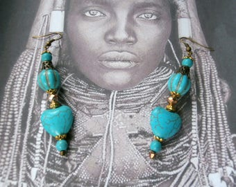 """CŒUR"" earrings turquoise blue"