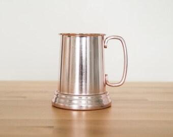 Vintage Rose Gold Stein  • Womens Beer Tankard • Ladies Renaissance Faire • Historical Reenactment Prop • Pink Aluminum Girls Mug
