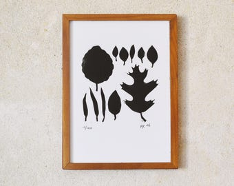 leaves · original linocut · Limited Edition · DIN A5