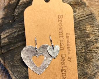 Asymmetrical Tin Heart Earrings