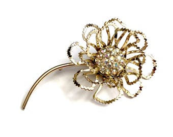 Sarah Coventry Rhinestone Flower Brooch, Pink Aurora Borealis Crystal, Multi Dimensional Open Design, Gold Tone, Signed, Vintage 1950s