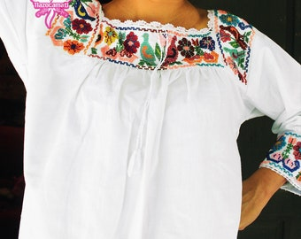 Woow! Grandiose Mexican pleated blouse embroidered by hand with crystal beads. Mexican peasant blouse, Frida Kahlo clothing, Frida Kahlo