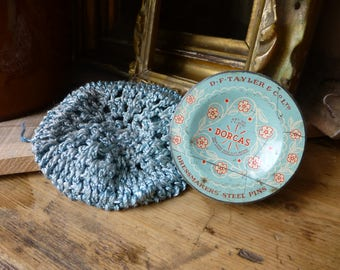 Vintage Dorcas Pin Tin & Crochet Drawstring Bag