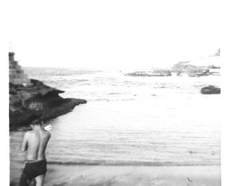 """Vintage Snapshot """"Low Tide"""" Male Swimmer Back View Found Vernacular Photo"""