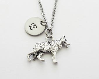 German Shepherd Necklace, Pewter Dog Necklace, Animal Jewelry, Dog Lover Gift, Silver Initial, Personalized, Monogram, Hand Stamped Letter
