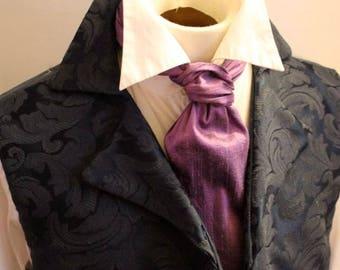 FORMAL Victorian Ascot Tie Cravat - Eggplant Purple Green Dupioni SILK