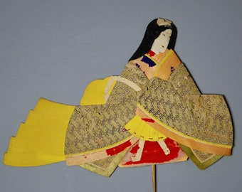 1800's Antique Oshie Japanese Silk Kimono Doll Hina Princess Oshi-e Okiage Ningyo 23