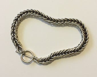 x Vintage Sterling Silver Salerno Italy Twisted Double Wheat Chain Bracelet (#2)
