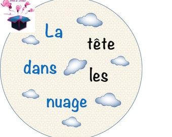 1 glass cabochon 16 mm cloud theme