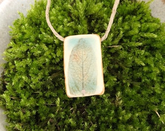 Natural Herb Pendant Necklace - Sage in Turquoise Oxide