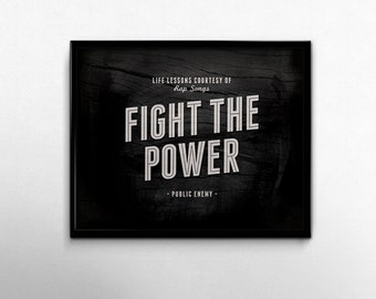 Gangsta Rap Fight the Power Music Art Print Public Enemy 80s Rap Quotes Lyrics Black Minimalist Room Decor