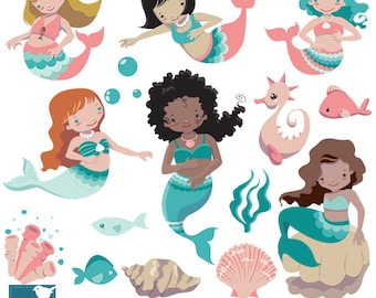 Mermaid clipart, little mermaid clip art, under the sea vector, scrapbook, invitation, greeting cards - Instant Download