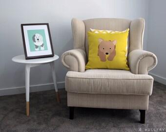 Woodland decor Bear throw pillow cushion. Bear. Nursery decor, children's play area.Professionally printed soft fabric with zipper