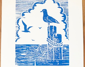 Seagulls Seaside Woodblock Print