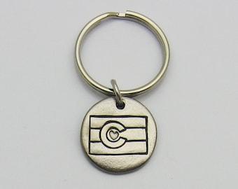 Colorado State Flag Keychain, Rustic Metal Keychain, Silver Toned Keychain, Colorado Love, Colorado Flag, Love Colorado, Colorado Lover