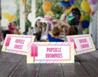 Popsicle Party Food Label - Popsicle Birthday, Ice Lolly, Ice Pop, Table Tent, Self-Editing | DIY Editable Text INSTANT DOWNLOAD Printable