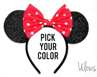 Minnie Mouse Ears, Minnie Ears, Polka Dot Minnie Ears, Mickey Ears, Polka Dot Mickey Ears, Disney Ears, Mickey Mouse Ears, Disneyland Ears
