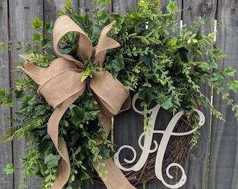 Door Wreath, Monogram Wreath, Burlap Wreath, Greenery Wreath for All Year Round, Everyday Wreath, Green Wreath, Natural Wild Front Door