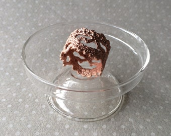 Handmade Vintage Lace Ring in Copper Electroformed Electroforming - Pattern 3