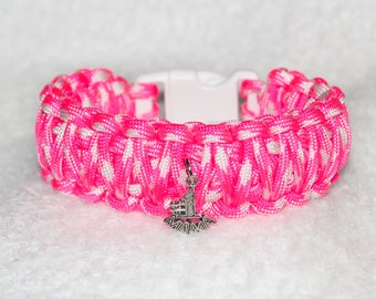 Mama Bracelet, Number 1 Mom, Number One Mama, Mother Accessory, New Mom Gift, Paracord Bracelet, Hot Pink Bracelet, Mom Charm, Gifts for Her