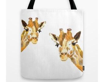Giraffe Tote Bag, Book bag, Shopping bag, Casual tote, School bag, Giraffe Bag