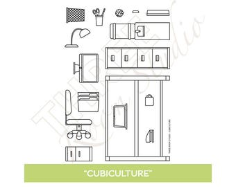 "TRS ""Cubiculture"" Clear Stamp set"