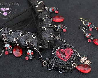 Halloween jewellery / Gothic necklace / Corset necklace / Scull necklace / Gothic earrings / Scull earrings / Polymer clay necklace