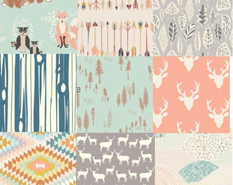 Fat Quarter Bundle, Woodland, Nursery Fabric, Mint, Coral, Gray, Quilting Cotton, Kids Room, Bucks, Elk, Arrows, Fox, Owl, Deer, Trees