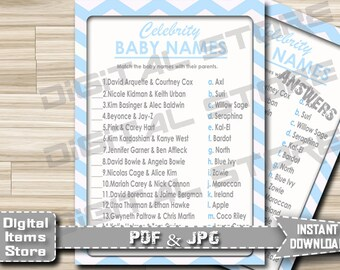 Printable Baby Shower Celebrity Name Game, Blue White Chevron - Celebrity Baby Name Game Chevron Blue - Instant Download - cb1