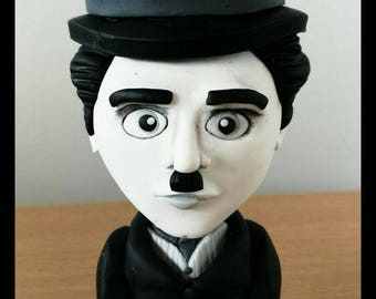 Charlie Chaplin handmade, Fimo, polymer clay, collections, cake topper, arcilla polimerica, bobblehead.