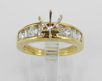 18K Yellow Gold Diamond Engagement Ring Setting Semi Mount Size 6