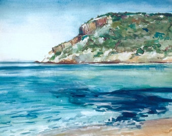 Aegean | Original Watercolor Gouache Painting of the Aegean Sea at Livadia Beach in AntiParos, Greek Islands