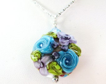 SALE, Purple Blue Lampwork Flower Pendant Necklace, Raised Flower Glass Bead, Textured Sterling Silver Chain, Ready To Ship, Gift Box