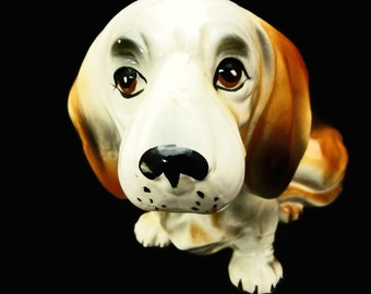 Vintage Blood Hound or Dachshund Statue with Wrinkles Made in Japan