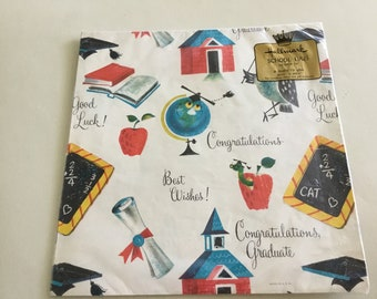 Vintage Graduation Gift Wrap, Hallmark School Daze, New Old Stock Hallmark Gift Wrap,  Retro Wrapping Paper 1960s