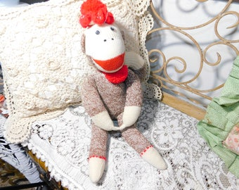 Sock Monkey, Monkey, Vintage Sock Monkey, Monkey, Vintage Stuffed Animals, Vintage Toys, Prop :)s*