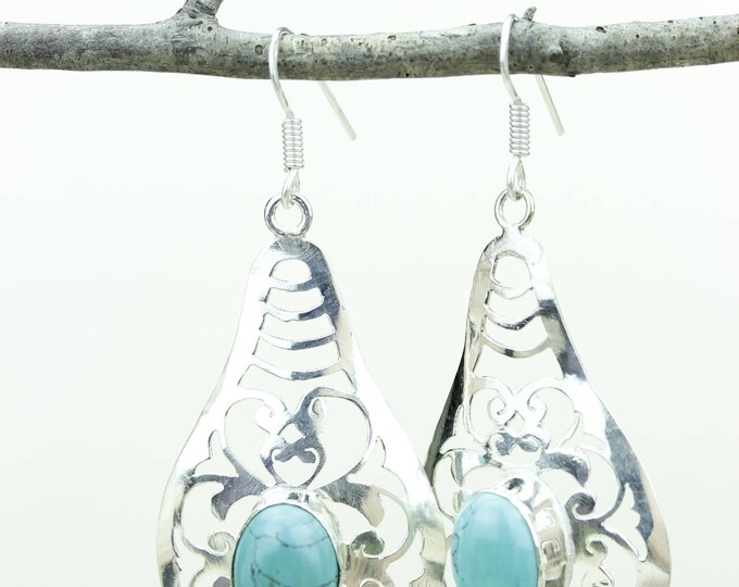 Turquoise 925 SOLID (Nickel Free) Sterling Silver Italian Made Dangle Earrings e634
