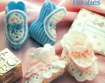 Annie's Attic Mile-A-Minute Crochet Baby Booties - MATCHES BABY AFGHANS