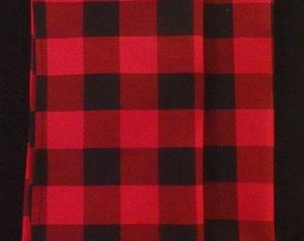 Red & Black Table Linens, Buffalo Plaid Cotton, Table Runner, Table Topper, Tablecloth, Dresser Scarf, Lumberjack Plaid, Christmas Plaid